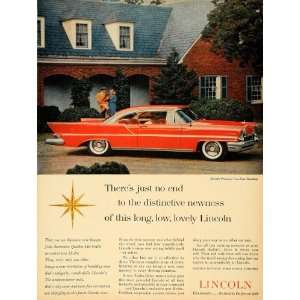 1957 Ad Lincoln Division Ford Motor Co. Red Hardtop Car