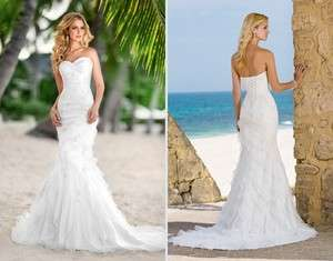 beach strapless sexy wedding brial dress/gown 4 6 8 10 12  16