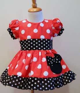 GIRLS HAND MADE CUSTOM BOUTIQUE MINNIE MOUSE PUFF SLEEVES DRESS 12M To