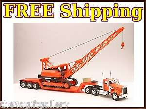Kenworth Truck & Flatbed with crane 18 Wheeler 1/32 Transfer Truck
