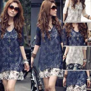 Womens Two Piece Chiffon Lace Two piece Asymmetric Casual Dress