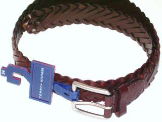NEW TOMMY HILFIGER MENS BRAIDED LEATHER BELT BROWN SIZE 34 36 38 $40