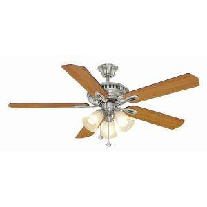 Hampton Bay Brushed Nickel Light Brown Ceiling Fan