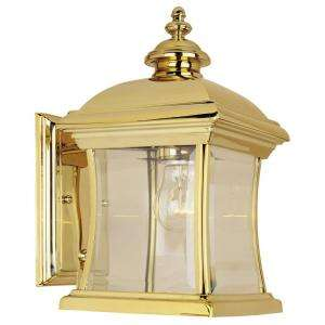 Hampton Bay Wall Mount Outdoor Polished Brass Lantern DISCONTINUED