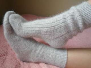 LUXURIOUS SUPER FUZZY & SOFT ANGORA CABLE ANKE SNOW BUNNY SOCKS