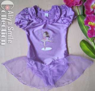 Lavender Girls Ballet Dance Dress Purple Tutu Leotard Costume SZ 4 6 8