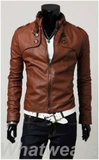 Mens Slim Fitted PU Leather Coat Jacket Brown 3 Size Z74