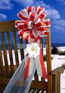 50 RED PULL BOWS GIFT RIBBON CHRISTMAS BASKET TREE PEW