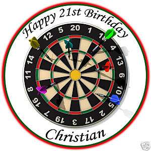 Personalised Darts Dart Board Edible Icing Cake Topper