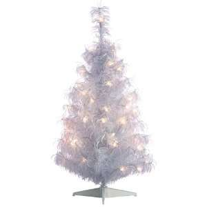 White Iridescent Curly Tinsel Artificial Christmas Tree  Clear Lights