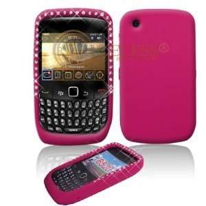 Rhinestone Soft Silicone Skin Gel Cover Case for Blackberry 8520