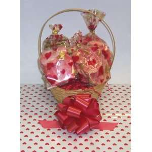 Small Valentines Day Cookie Lovers Basket with Handle Heart Wrapping