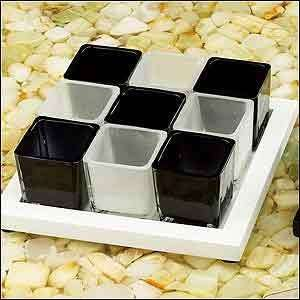 Square Cup White Base Candle Holder with Stand