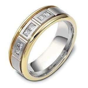 14 Karat Two Tone Gold Princess Cut 6 Diamond Wedding Band Ring   6.25