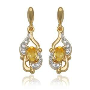 Yellow Gold Plated Sterling Silver Citrine 5x3mm and Diamond Earrings