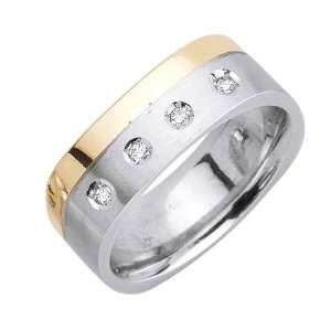20ct 14K Gold Two Tone Squared Diamond Wedding Ring (8 mm) Jewelry