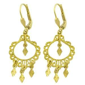 14 Karat Yellow Gold Diamond Cut Chandelier Earrings Jewelry