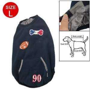 Sleeveless Navy Blue Round Neck Pet Clothes Coat Size L