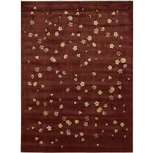 Brown Cherry Blossoms Floral Area Rug 3.60 x 5.60.