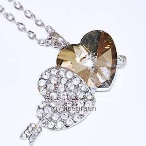 Crystal Glass Brown Cupid Heart Pendant and Necklace