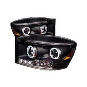 06 08 Dodge Ram Halo LED Projector Head Lights   Black Automotive