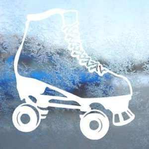Rollerskate White Decal Car Laptop Window Vinyl White