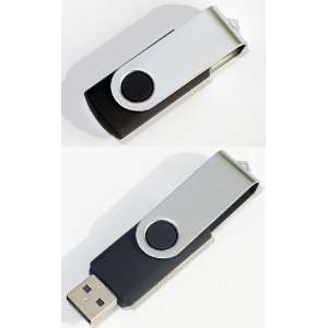 Premium Metal/Black Swivel USB Flash Memory Drive 8 GB