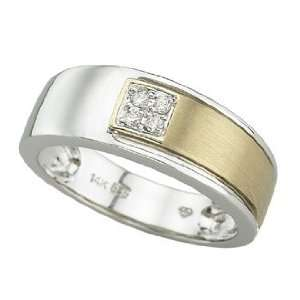 14K Two Tone Gold 0.07cttw Mens Diamond Wedding Ring Jewelry