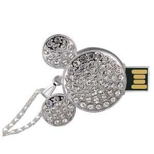 High Quality 8GB Mickey Mouse Crystal USB Flash Drive with Necklace