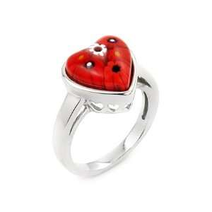 Millefiori Murano Glass Heart Sterling Silver Ring By Alan K, Size 8