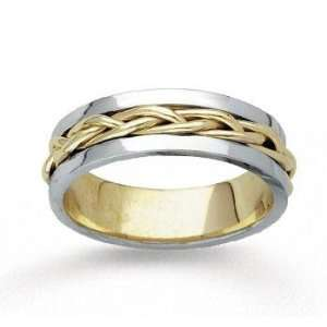 14k Two Tone Gold Stylish Tangle Hand Carved Wedding Band Jewelry