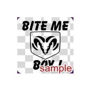 CARS BITE ME BOY 10 WHITE VINYL DECAL STICKER