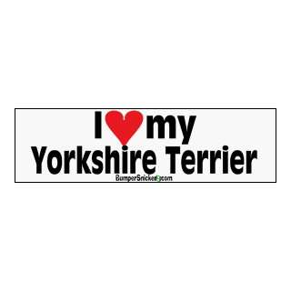 I Love My Yorkshire Terrier   bumper stickers (Large 14x4