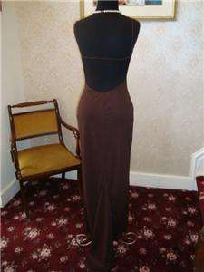 Prom evening gown formal dress size small, brown aqua accent