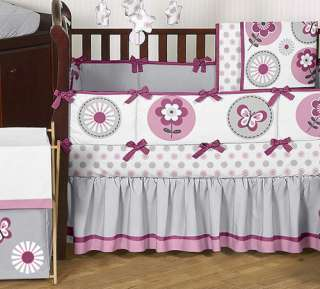 AND WHITE MOD FLOWER BUTTERFLY GARDEN GIRL BABY BEDDING 9pc CRIB SET