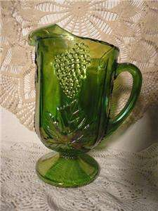 INDIANA VINTAGE RARE GREEN CARNIVAL GLASS HARVEST GRAPE PITCHER