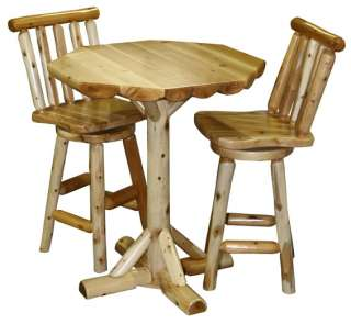 Amish Log Rustic Pub Table Chairs Set High Bar Breakfast Cabin Lodge