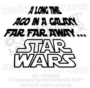 STAR WARS Quote Vinyl Wall Decal A LONG TIME AGO Kids Room Bedroom